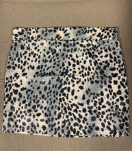 Load image into Gallery viewer, Zenana silver leopard print mini skirt