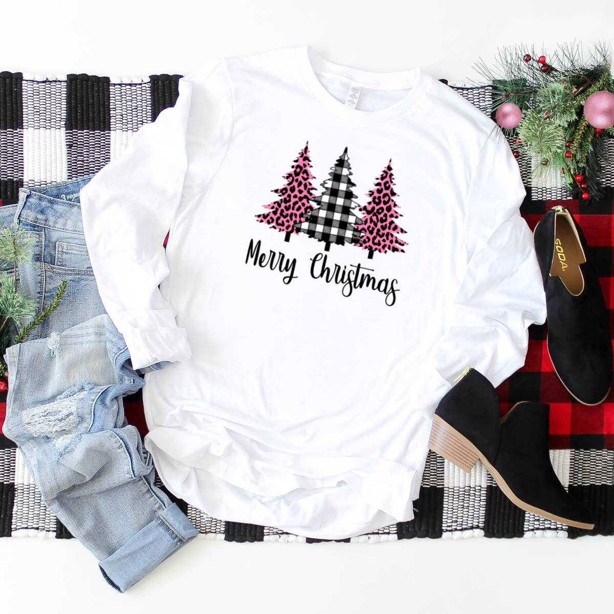 Christmas Pink Leopard and Plaid Trees LS
