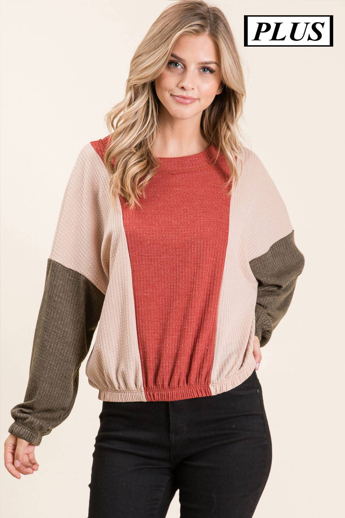 Plus- waffle knit colorblock top