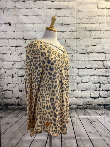 Simply Southern Leopard Crossfront Sequin Top