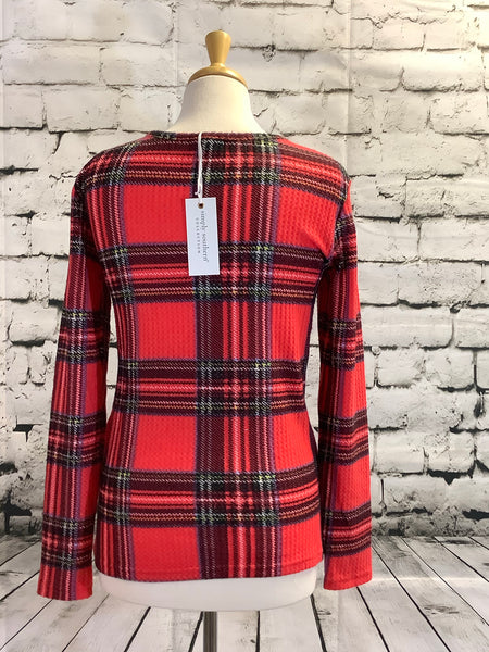 Simply Southern Waffle Top (Red Plaid)