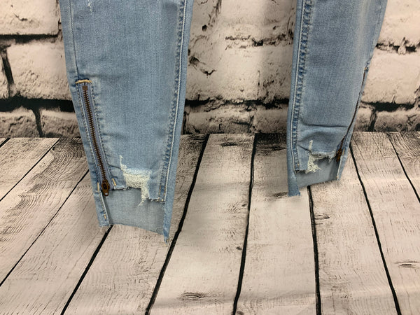 Eunina High Rise Distressed Skinny Jeans