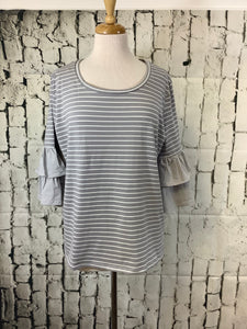 Umgee Round Neck Top (Cool Grey)