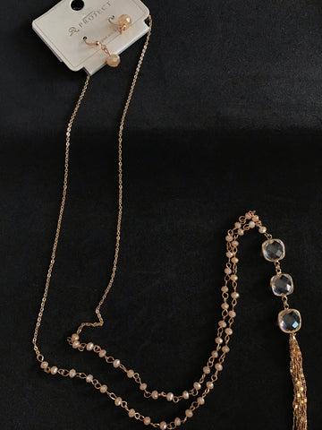 Gold Necklace with Bead Accents & Earrings