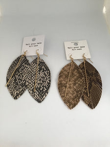 Leather Leaf Earrings with Gold Bar