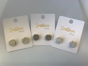 Southern Seoul Round Druzy Post Earrings