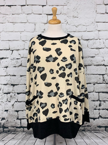 ODDI Leopard print long sleeve sweater with pockets