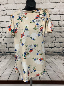 Floral Blouse with Tie at Neck