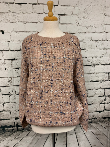 Round Neck Dusky Pink Multi Sweater