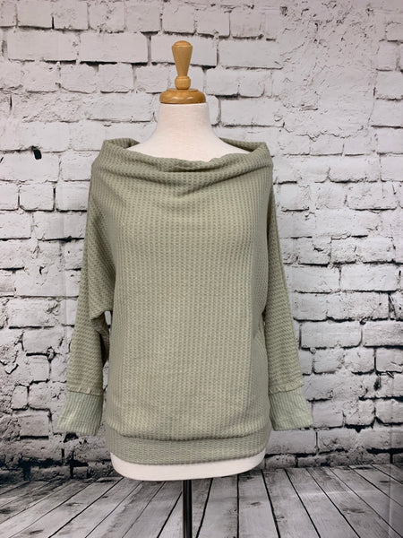 Kori Dolman Cowl Neck Top