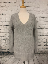 Load image into Gallery viewer, Zenana Gray Popcorn Sweater V Neck