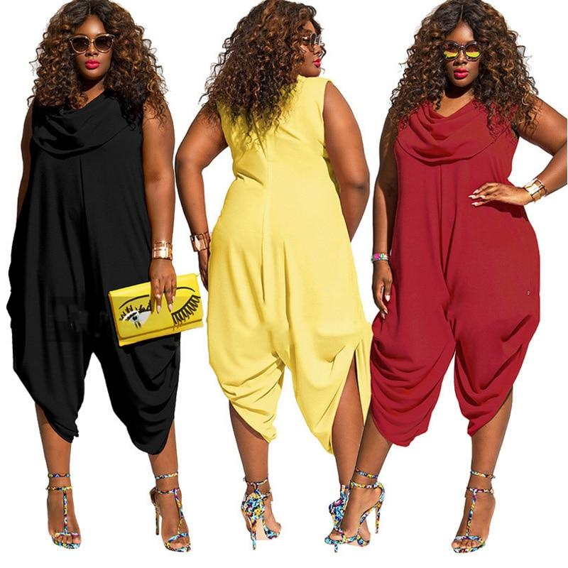 Womens Hareems V Neck Harems Dress All In One Jumpsuit Romper Ladies Plus Size