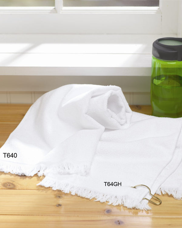 Fringed Hand Towel with Corner Grommet and Hook-Towels Plus-Pacific Brandwear