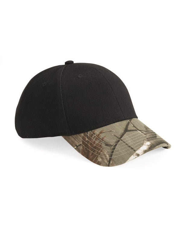 Solid Crown Cap with Camo Visor-Kati-Pacific Brandwear