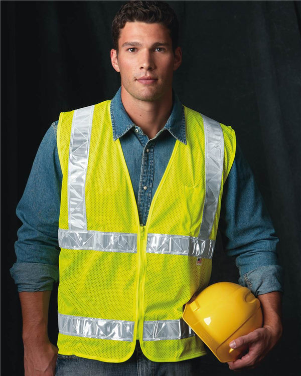 USA-Made Mesh Safety Vest-Bayside-Pacific Brandwear