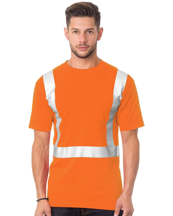 USA-Made 50/50 High Visibility Short sleeve T-Shirt with Pocket-Bayside-Pacific Brandwear