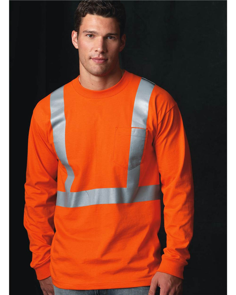 USA-Made High Visibility Long sleeve T-Shirt with Pocket-Bayside-Pacific Brandwear