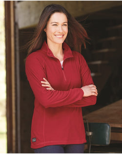 Women's Fusion Quarter-Zip Nano-Fleece Pullover-DRI DUCK-Pacific Brandwear