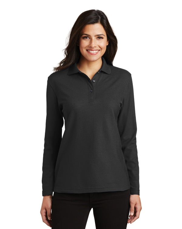 Port Authority® Ladies Silk Touch™ Long Sleeve Polo-Port Authority-Pacific Brandwear