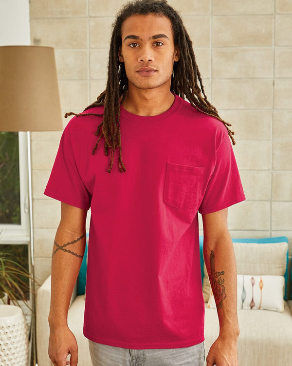 Tagless Short sleeve Pocket T-Shirt-Hanes-Pacific Brandwear
