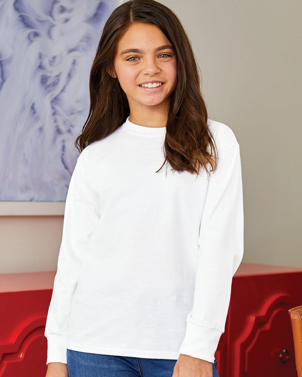Tagless Youth Long sleeve T-Shirt-Hanes-Pacific Brandwear