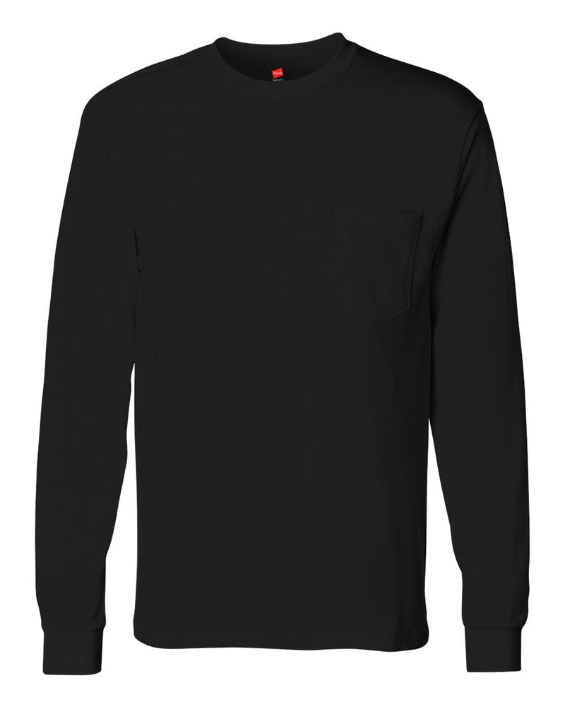Tagless Long sleeve Pocket T-Shirt-Hanes-Pacific Brandwear