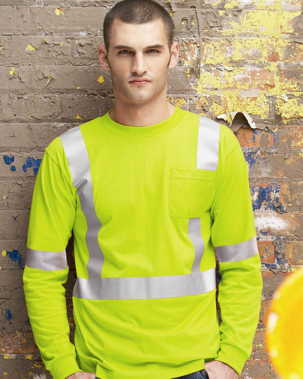 High Visibility Long sleeve Safety T-Shirt-Red Kap-Pacific Brandwear