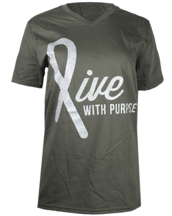 Live with Purpose Awareness Ribbon V-neck-Pacific Brandwear-Pacific Brandwear