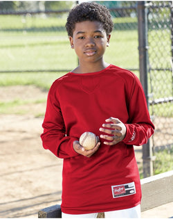 Youth Flatback Mesh Fleece Long sleeve Pullover-Rawlings-Pacific Brandwear