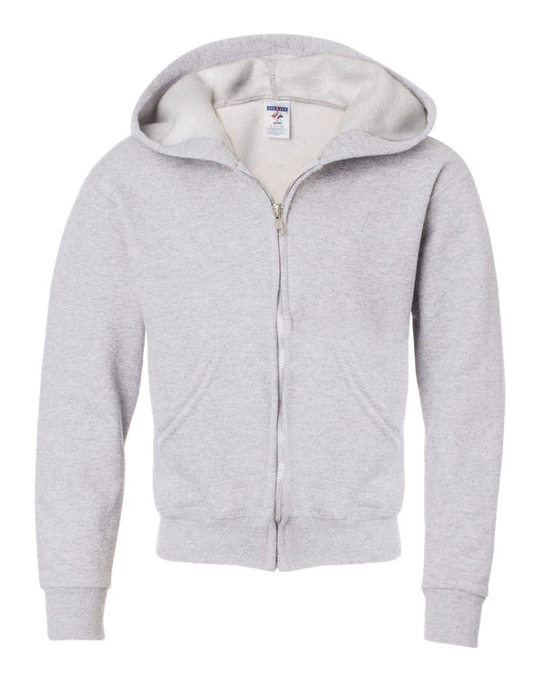 NuBlend Youth Full-Zip Hooded Sweatshirt-JERZEES-Pacific Brandwear