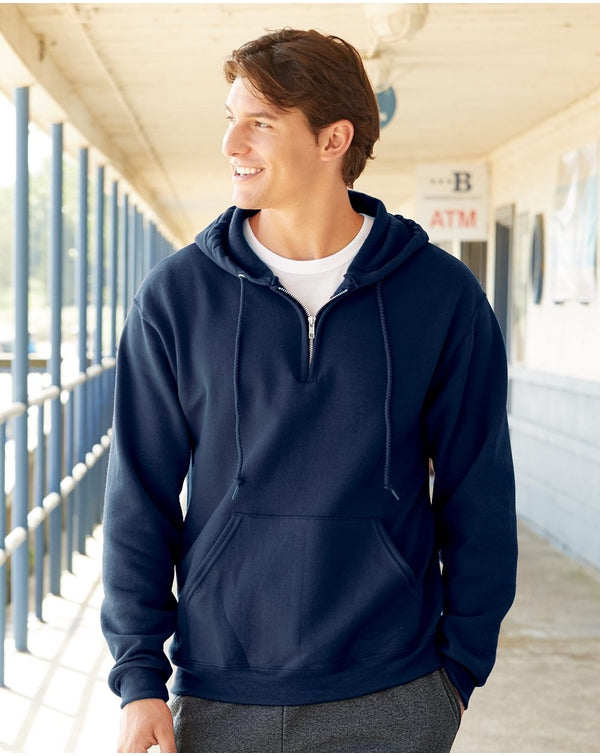 NuBlend Quarter-Zip Hooded Sweatshirt-JERZEES-Pacific Brandwear