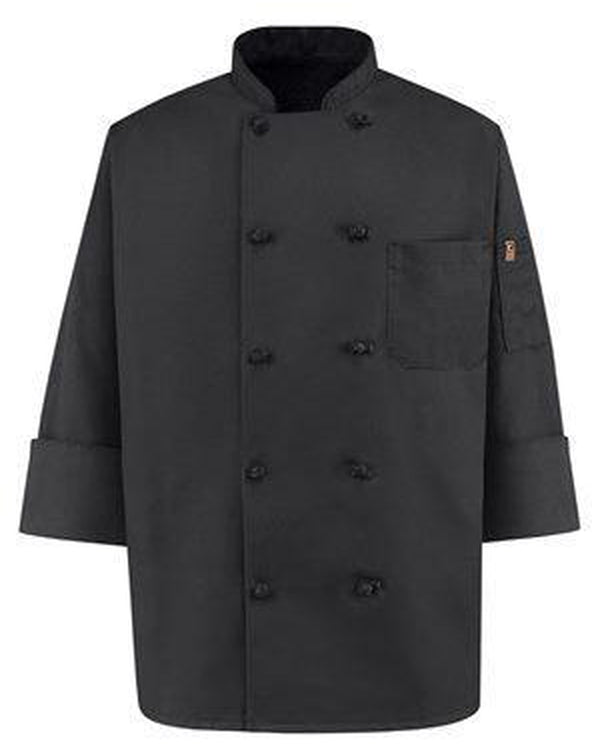 Black Knot Button Chef Coat-Chef Designs-Pacific Brandwear