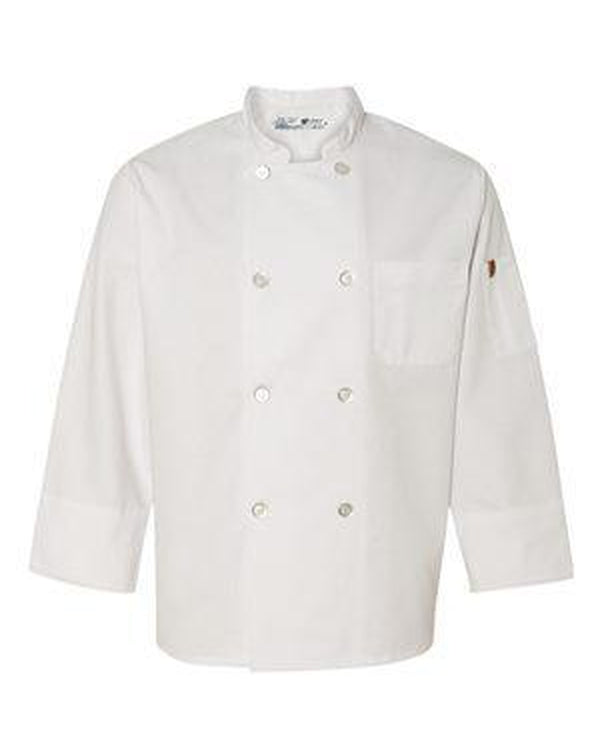 Button Chef Coat with Thermometer Pocket-Chef Designs-Pacific Brandwear