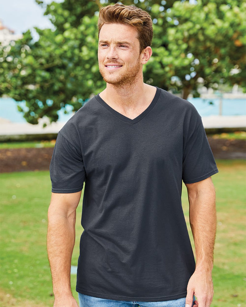 HD Cotton V-Neck T-Shirt-Fruit of the Loom-Pacific Brandwear
