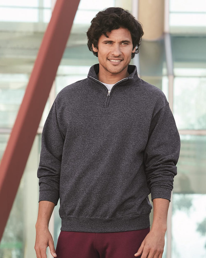 Nublend Cadet Collar Quarter-Zip SweatShirt-JERZEES-Pacific Brandwear