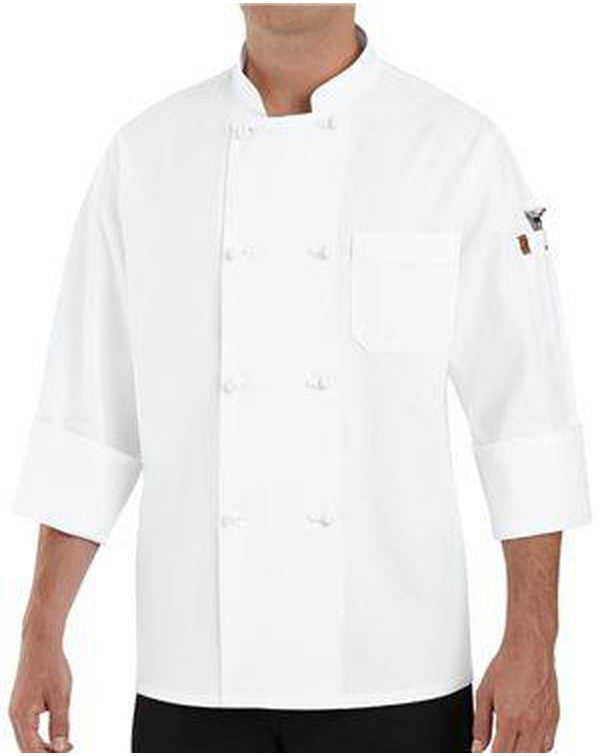 Eight Knot Button Chef Coat with Thermometer Pocket-Chef Designs-Pacific Brandwear