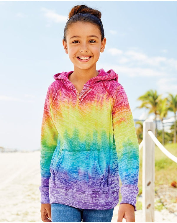 Girls̍ Courtney Burnout V-Notch Hooded Sweatshirt-MV Sport-Pacific Brandwear