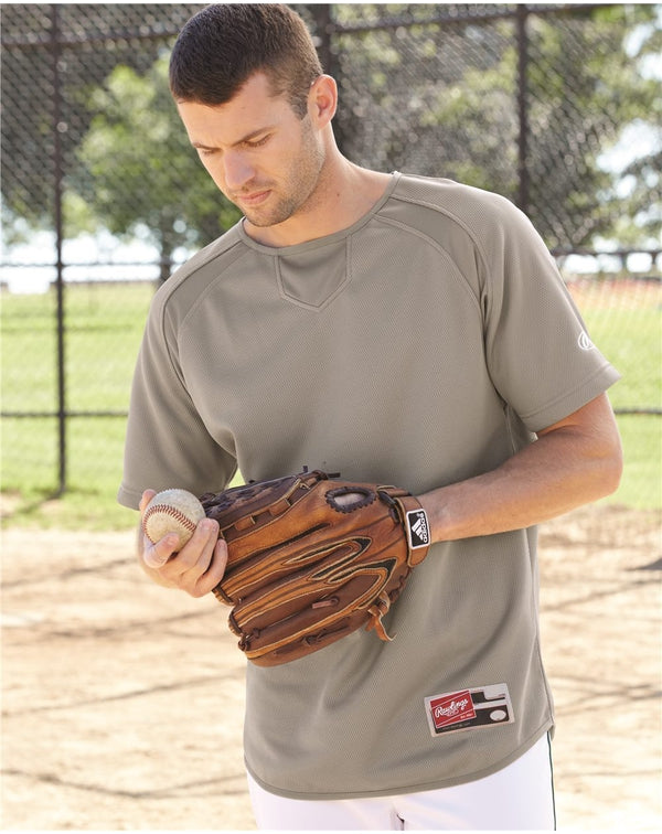 Short sleeve Flatback Mesh Fleece Pullover-Rawlings-Pacific Brandwear