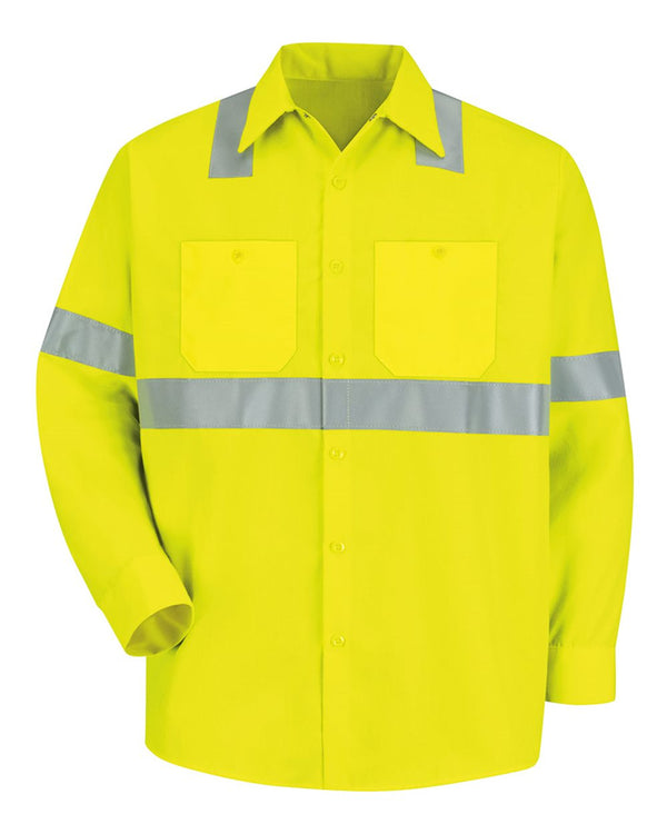 High Visibility Safety Long sleeve Work Shirt-Red Kap-Pacific Brandwear
