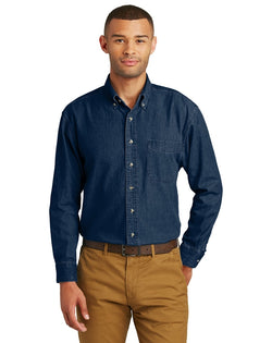 Port & Company® - Long Sleeve Value Denim Shirt-Port & Company-Pacific Brandwear