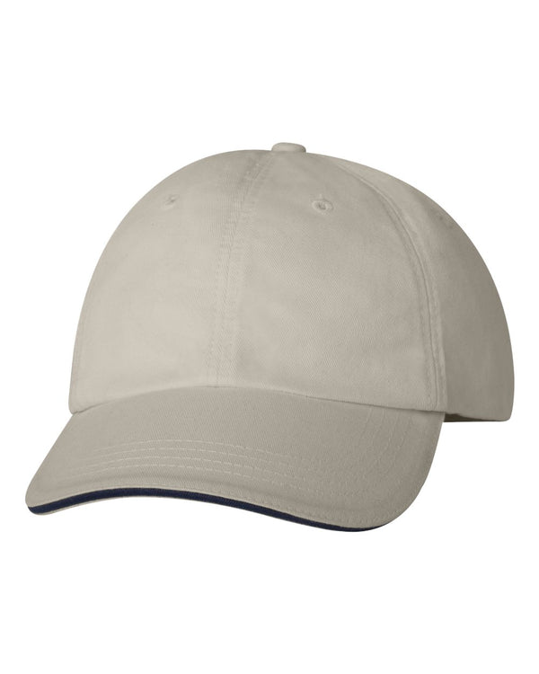 USA-Made Unstructured Twill Cap with Sandwich Visor-Bayside-Pacific Brandwear