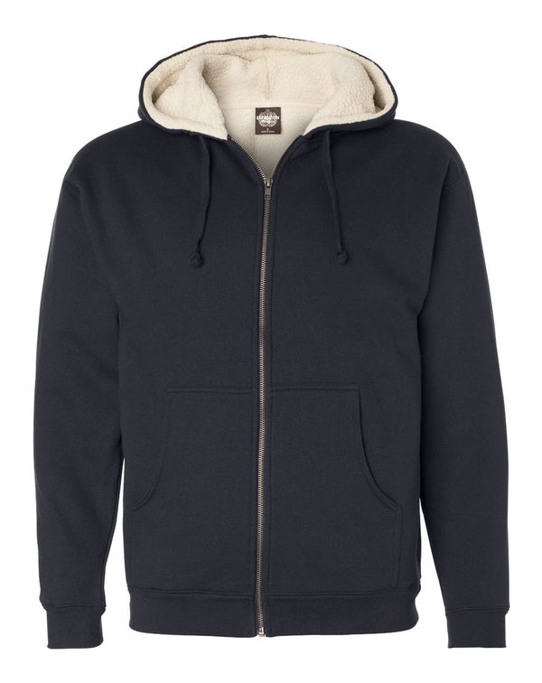 Sherpa-Lined Full-Zip Hooded Sweatshirt-Independent Trading Co.-Pacific Brandwear