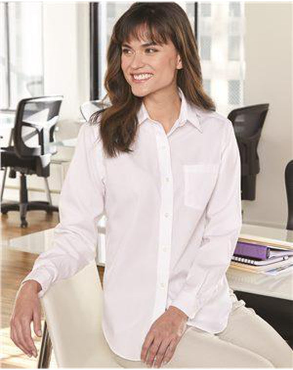 Women's Broadcloth Long Sleeve Shirt-Van Heusen-Pacific Brandwear