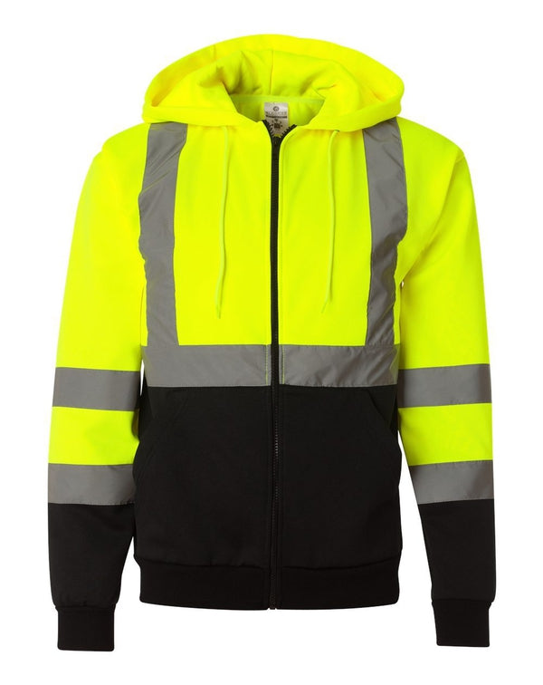 Hi-Vis Full-Zip Hooded Sweatshirt-ML Kishigo-Pacific Brandwear