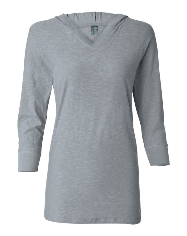 Women's Three-Quarter sleeve Hooded Slub Tee-J. America-Pacific Brandwear