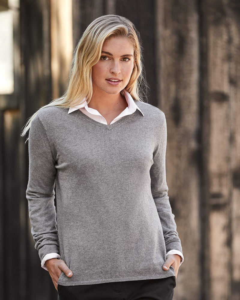 Women's Vintage Cotton Cashmere V-Neck Sweater-Weatherproof-Pacific Brandwear