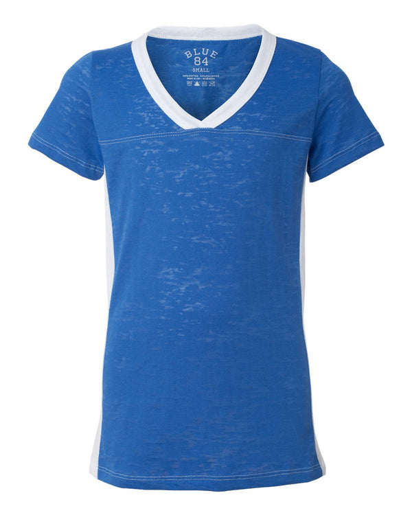 USA-Made Juniors' Burnout V-Neck Side Stripe Tee-Blue 84-Pacific Brandwear