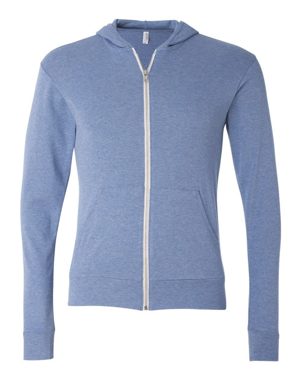 Unisex Triblend Lightweight Full-Zip Hooded Long sleeve Tee-BELLA + CANVAS-Pacific Brandwear