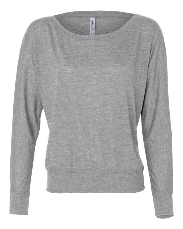 Women's Flowy Off Shoulder Long sleeve Tee-BELLA + CANVAS-Pacific Brandwear
