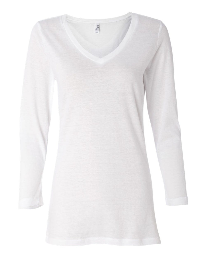 Missy Three-Quarter sleeve Jersey V-Neck Tee-BELLA + CANVAS-Pacific Brandwear
